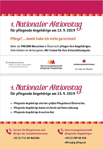 1. Nationaler Aktionstag für pflegende Angehörige am 13.9.2019