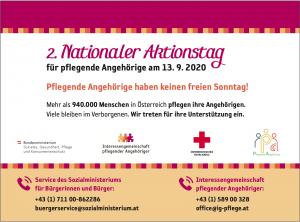 Ankündigung 2. Nationaler Aktionstag für pflegende Angehörige - 13.9.2020